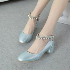 Naisten Keinonahasta Chunky heel Avokkaat Suljettu toe jossa Pearl kengät