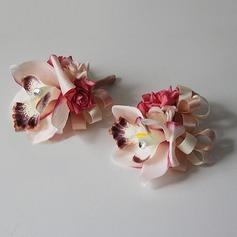Pretty Seda artificiales/Rhinestone Conjuntos de flores ( conjunto de2) - Ramillete de muñeca/Boutonniere