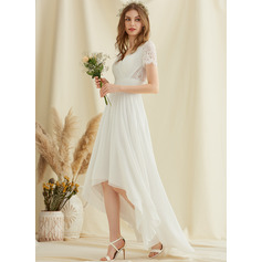 A-Line V-neck Asymmetrical Chiffon Lace Wedding Dress (002234886)