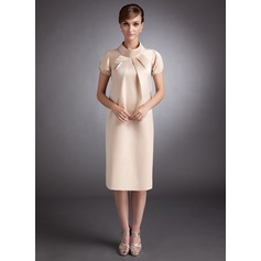 A-Line High Neck Knee-Length Satin Maternity Bridesmaid Dress With Ruffle (045004380)
