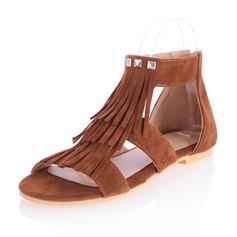 Замша Плоский каблук Сандалии На плокой подошве Открытый мыс с Застежка-молния кисточка обувь