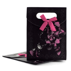 Pretty Floral Theme Favor Bags With Bow