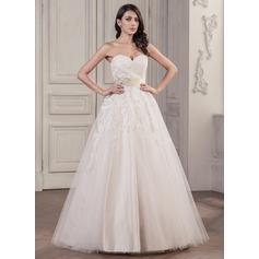 Balklänning Hjärtformad Golvlång Tyll Spetsar Bröllopsklänning med Pärlbrodering Paljetter