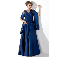 A-Line V-neck Floor-Length Taffeta Mother of the Bride Dress With Lace Beading Sequins (008013955)