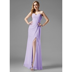 Sheath/Column Sweetheart Floor-Length Chiffon Prom Dress With Ruffle Split Front