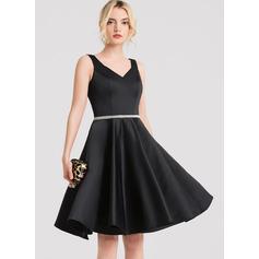 A-Line V-neck Knee-Length Satin Cocktail Dress With Beading