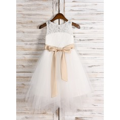 A-Line/Princess Tea-length Flower Girl Dress - Satin/Tulle/Lace Sleeveless Scoop Neck With Sash/Bow(s)/Back Hole (010091711)