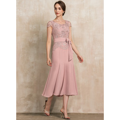 Trumpet/Mermaid Scoop Neck Tea-Length Chiffon Lace Mother of the Bride Dress With Bow(s) (008217322)