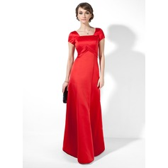 A-Line/Princess Square Neckline Floor-Length Satin Evening Dress With Ruffle