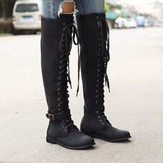 Women's PU Flat Heel Boots With Lace-up shoes