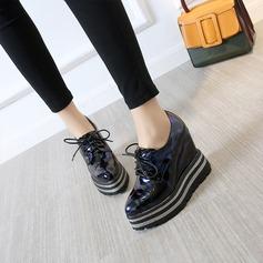 Frauen Kunstleder Keil Absatz Keile mit Funkelnde Glitzer Zuschnüren Schuhe