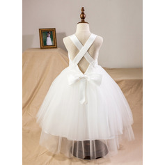 Ball Gown Tea-length Flower Girl Dress - Satin/Tulle/Lace Straps With Bow(s) (010094098)