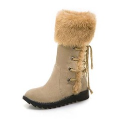 Women's Suede Flat Heel Boots Mid-Calf Boots Snow Boots With Lace-up shoes