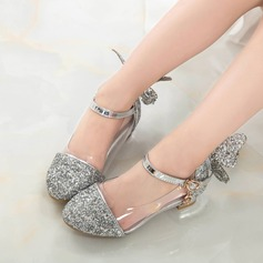 Girl's Sparkling Glitter Low Heel Closed Toe Sandals With Bowknot Sparkling Glitter