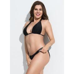 Sexy Color sólido Del chinlon Bikinis Traje de baño
