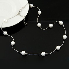 Stilfuld Legering Imiteret Pearl med Imiteret Pearl Ladies ' Fashion Halskæde (Sælges i et enkelt stykke)