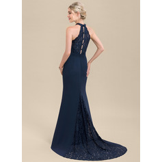 Trumpet/Mermaid High Neck Sweep Train Chiffon Lace Bridesmaid Dress (007116638)