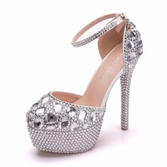 Women's Leatherette Spool Heel Closed Toe Platform Pumps With Crystal