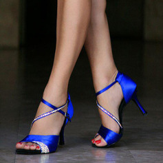 Mulheres Cetim Saltos Latino com Fivela Lantejoulas Sapatos de dança