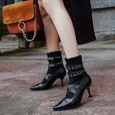 Kvinder Kunstlæder Stiletto Hæl Pumps Støvler Ankelstøvler med Nitte Spænde sko