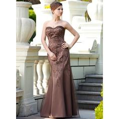 Trompete/Meerjungfrau-Linie Herzausschnitt Bodenlang Satin Kleid für die Brautmutter mit Perlen verziert Pailletten