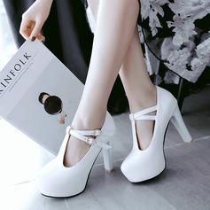 Women's Leatherette Stiletto Heel Pumps Platform With Ribbon Tie shoes