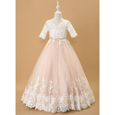 Ball-Gown/Princess Floor-length Flower Girl Dress - Tulle/Lace 1/2 Sleeves Scoop Neck With Bow(s)