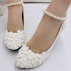 Women's Leatherette Low Heel Closed Toe Pumps With Applique Pearl
