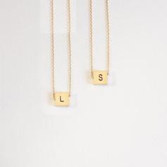 Personalizado Plata chapada en oro de 18 k Grabado / Grabado Carta Collar inicial Collar grabado - Regalos De Cumpleanos Regalos Del Día De La Madre (288209232)