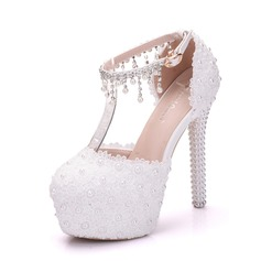 Women's Leatherette Stiletto Heel Closed Toe Platform Pumps With Pearl