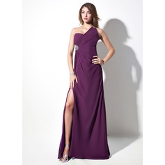 Sheath/Column One-Shoulder Sweep Train Chiffon Evening Dress With Ruffle Beading Split Front