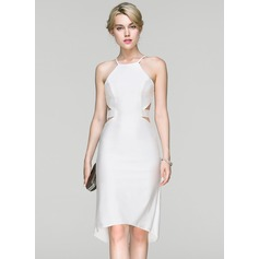 Sheath/Column Scoop Neck Asymmetrical Jersey Cocktail Dress