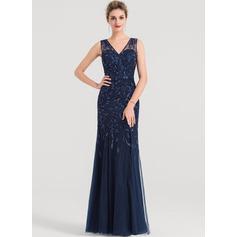 Платье-чехол V-образный Длина до пола Тюль Вечерние Платье с блестки