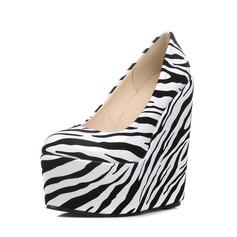 Femmes PU Talon compensé Escarpins Plateforme Bout fermé Compensée avec La copie Animale chaussures