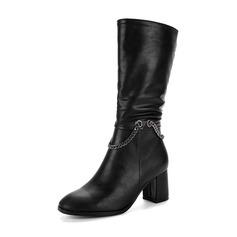Frauen PU Stämmiger Absatz Absatzschuhe Stiefel Stiefel-Wadenlang mit Reißverschluss Kette Schuhe