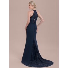Trompete/Meerjungfrau-Linie High Neck Sweep/Pinsel zug Chiffon Lace Brautjungfernkleid (007116638)