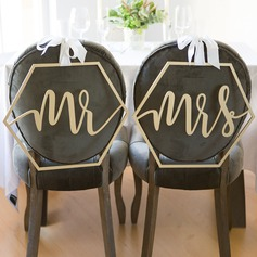 """Mr & Mrs"" Elegant Trä Bröllop Sign (sats om 2)"
