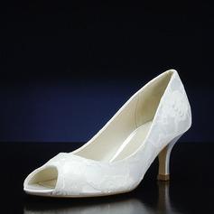 Женщины Кружева шелка как атласное Высокий тонкий каблук Открытый мыс На каблуках