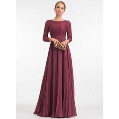 Corte A Decote redondo Longos Tecido de seda Vestido de festa com Plissada