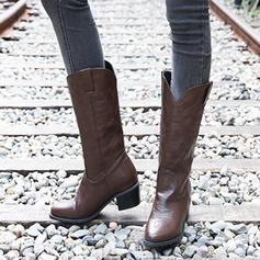 Kvinner PU Stor Hæl Støvler Knehøye Støvler sko