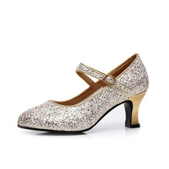 Women's Sparkling Glitter Pumps Character Shoes With Ankle Strap Dance Shoes