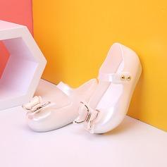 Fille de Matières plastiques talon plat bout rond Sandales avec Bowknot Velcro