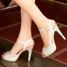 Women's Leatherette Stiletto Heel Sandals Platform Peep Toe With Rhinestone shoes (117125180)