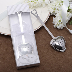 """Love Story""/""Tea Time"" Heart Shaped Metal Tea Party Favors With Ribbons"