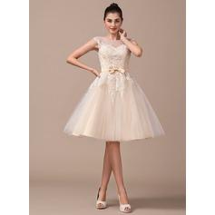 Vestidos princesa/ Formato A Decote redondo Coquetel Tule Vestido de noiva com Curvado
