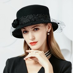 Ladies' Elegant Wool With Tulle Bowler/Cloche Hats/Tea Party Hats