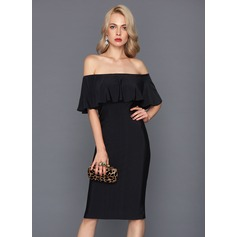 Linjeform Off-the-Shoulder Knelengde Jersey Cocktailkjole