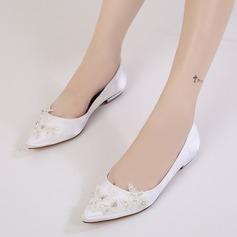 Women's Silk Like Satin Low Heel Closed Toe Flats With Rhinestone Applique