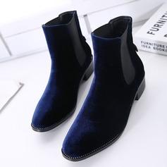 Femmes Velours Talon bottier Bottines avec Semelle chaussures