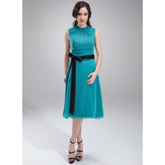 A-Line Scoop Neck Knee-Length Chiffon Maternity Bridesmaid Dress With Ruffle Sash Bow(s) (045004384)